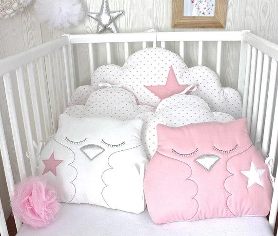 Babybett Turm, reversibel, oder Kind Schlafzimmer Dekoration, 5 Kissen  Wolken und Eulen, rosa und weiß