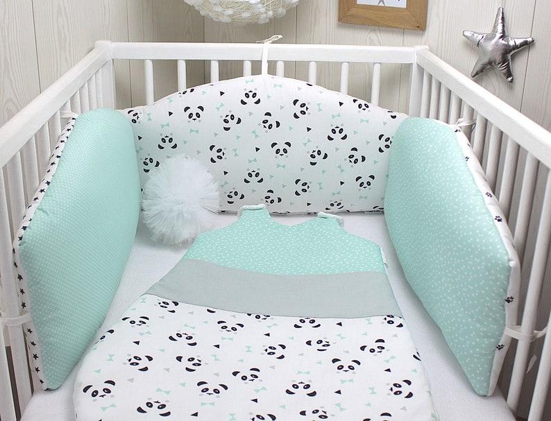 Tour de lit bébé en 3 panneaux réversibles couleur vert - Créatrice ESTY : PetitLionForBaby