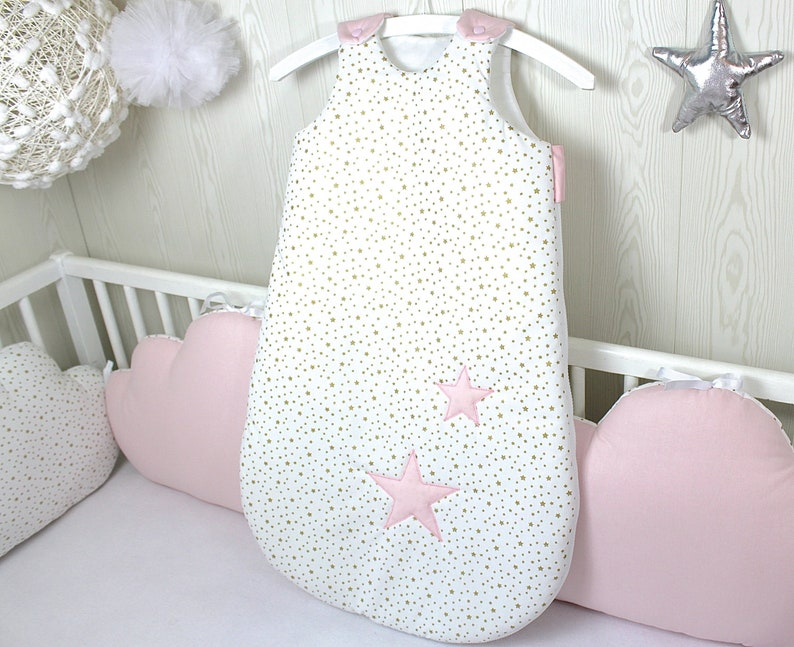 53c7ec84d Baby sleeper white with small gold stars and pink pale with