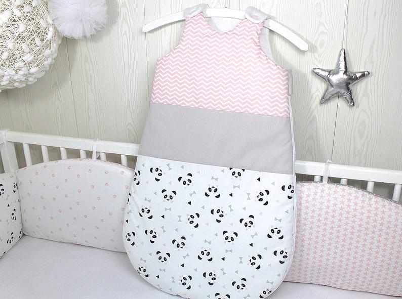 Gigoteuse motif panda, couleur rose, gris, blanc - Créatrice ESTY : PetitLionForBaby