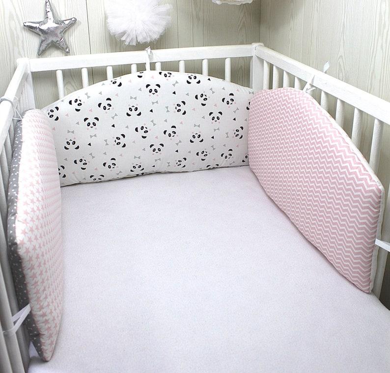 Tour de lit bébé en 3 panneaux réversibles couleur rose   Etsy