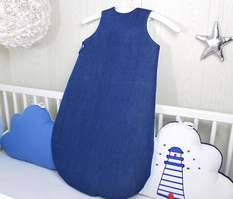2aefa910a09 Baby sleeping bag marine theme Navy Blue white and sky   Etsy