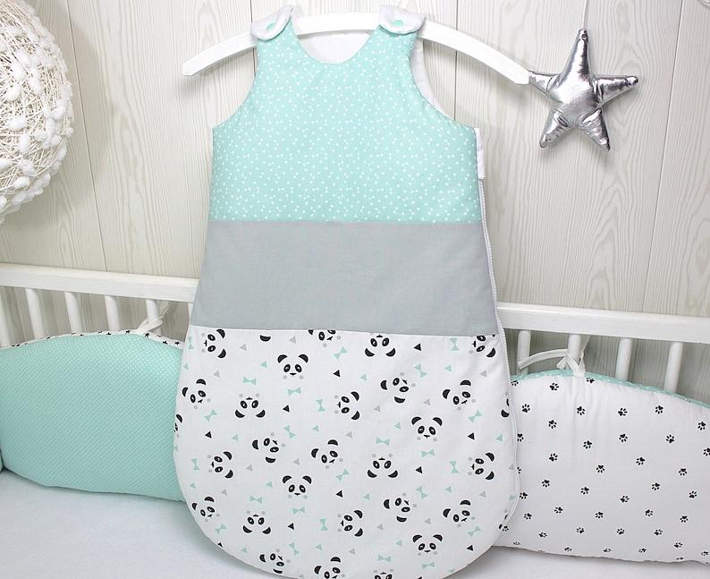 Gigoteuse bébé motif panda couleur vert d'eau gris - Créatrice ESTY : PetitLionForBaby
