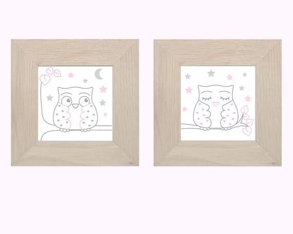 Tour de lit bébé 5 coussins nuages et hiboux, rose tendre gris et blancs