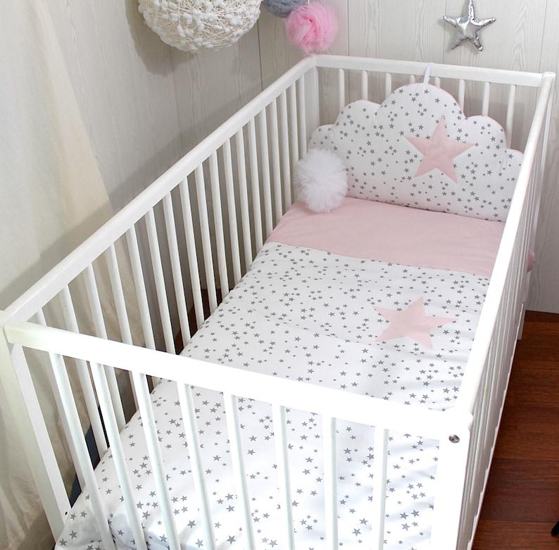 Housse de couette lit de bébé grise et rose - Créatrice ESTY : PetitLionForBaby