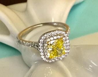 c06245a43 Tiffany & Co 1.57tcw Canary Diamond and Diamond Engagement Ring Plat