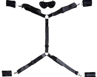 TORTRA Handcuffs Under Bed Restraints - Beginner Bondage Kit with Eye Mask & Adjustable Straps Fit King Size Mattress or Smaller