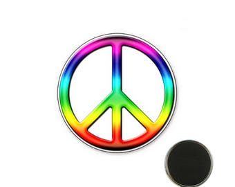 Magnet Peace and Love colourful - 32 mm Magnet