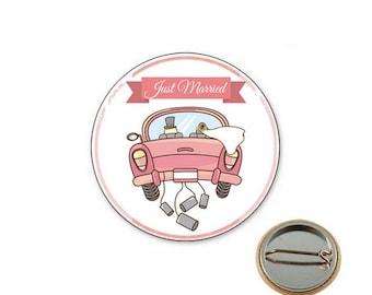 Decorative wedding Ø25mm pin badge