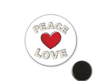 Magnet Peace Love Heart - 32 mm Magnet