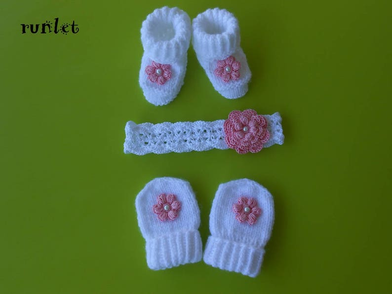 ac3fa1533ec Baby baby girl booties hat mittens for newborn knitted baby