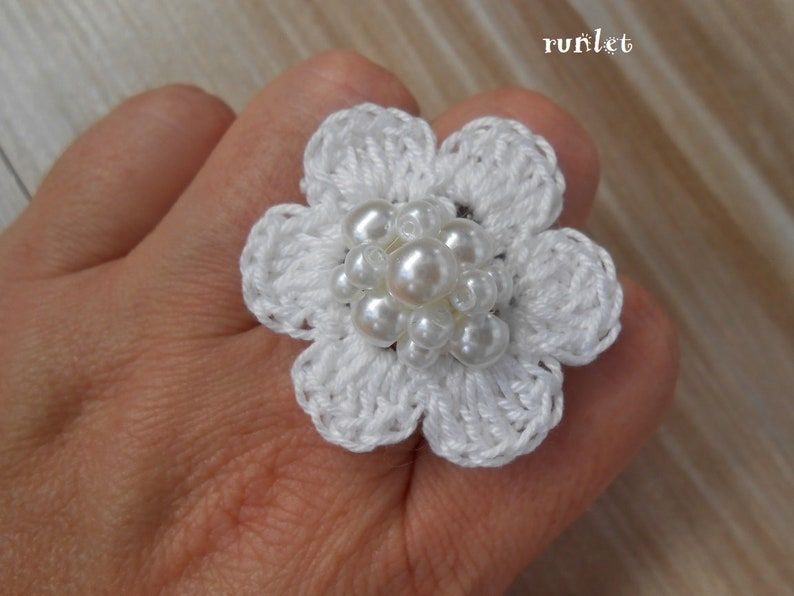 set ring earrings gift women lace jewelry Crochet jewelry shabby chic clips unique gifts shabby chic ring flower