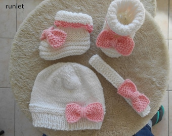 baby hat and booties sets/newborn booties and hat/baby clothes/baby knitting/knitted baby boots