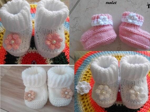 Baby Girl Shoes Slippers Booties Hot Pink Black Flower Handmade Crochet Newborn