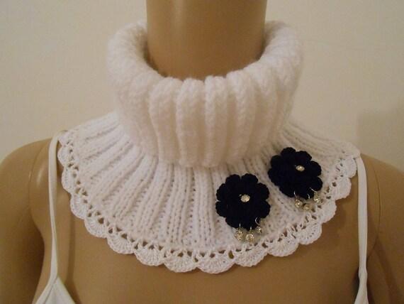 b571c855be65 écharpe laine col  snood blanc femme dentelle fait a main   Etsy
