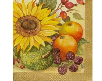Set of 3 paper napkins FRU013 leaves and autumn fruits