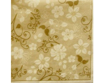Set of 3 paper napkins HOD077 pattern floral and Arabesque cream and taupe
