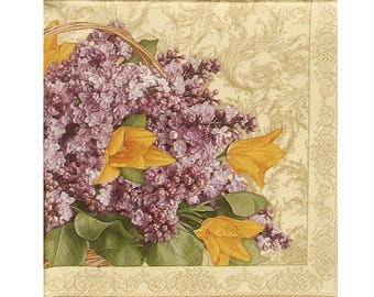 Set of 3 PLA160 basket of lilac and yellow flowers paper napkins