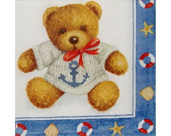 Set of 3 napkins OUR010 Teddy bear sweater wool anchor and Red Ribbon