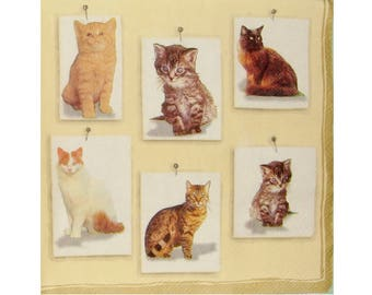 Set of 3 paper napkins ANI018 cats and kittens
