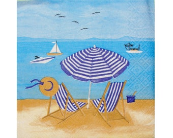 Set of 3 paper napkins MER006 chairs and umbrella on the beach