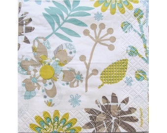Set of 3 paper napkins HOD107 flowers and leaves blue / green / taupe