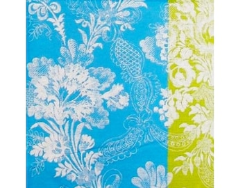 Set of napkins HOD054 floral white background blue and green