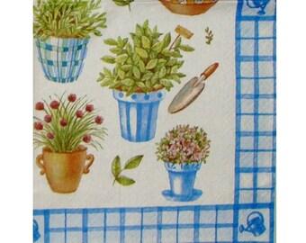Set of 3 paper napkins PLA054 gardening, pots and tools
