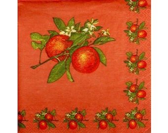 Set of 3 paper napkins FRU056 Oranges and flowers