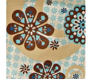 Set of 3 HOD018 flowers paper napkins and round Brown / turquoise / beige