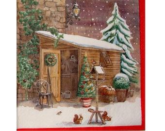 Set of 3 winter hut NOE051 paper napkins