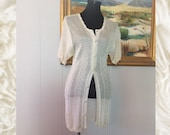 Long Open Weave Sweater Shell-Cream Color, Short Sleeve, Swim Cover Up, Light Weight Accent Wear