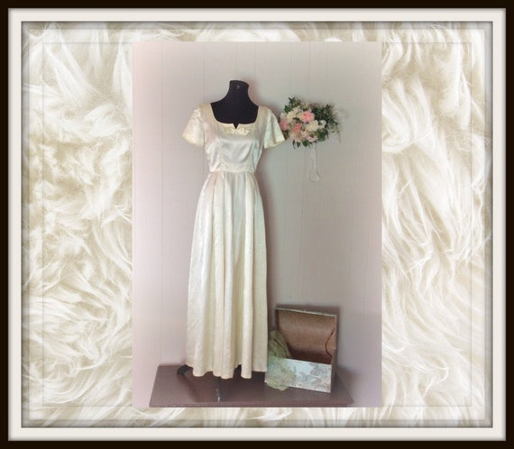 1940's Handmade Ball Gown, Vintage Wedding Dress,