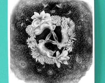 The Three Hares Art Print / Hand-drawn black and white illustration / Graphite illustration / Medieval symbolism