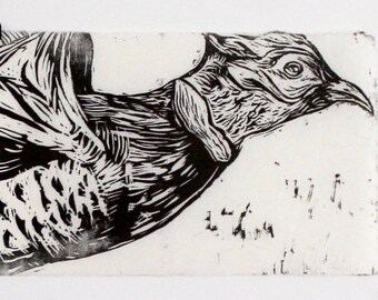 Hand-pulled Pheasant Woodcut Print / Limited Edition Print / Printmaking Woodcut Technique