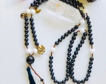 Shungite 108 Mala with white coral,Mala Necklace,Buddhist Prayer Beads,Meditation,Nurturing,Calming,Compadsion,Truth,EMF Protection
