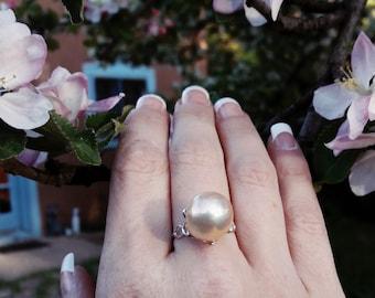 Pink Freshwater Pearl & Sterling Silver Flower