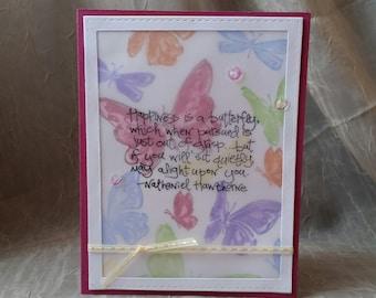 Handmade Card, Birthday Card, Thank You Card, Greeting Card, Thinking of You, Friend, Friend Card, Feminine, Butterflies, Butterfly