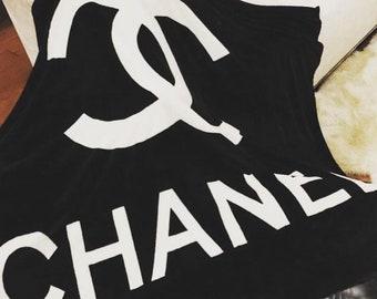 Designer inspired CC throw blanket velour black and white