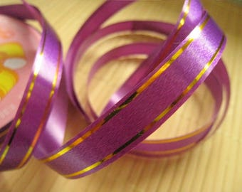10m purple bolduc ribbon bordered gold, width 1.2cm, ribbons for gift package, synthetic ribbon