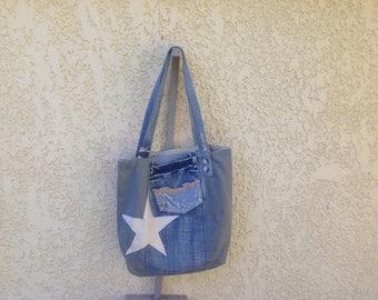 Tote bag in denim with stars