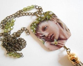Bronze pendant necklace natural woman.