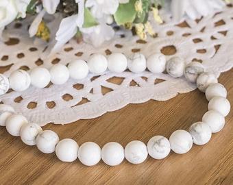 10 genuine howlite 8mm or 6mm - white howlite stone beads