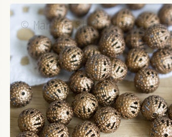 20 beautiful perforated beads jagged copper 8mm
