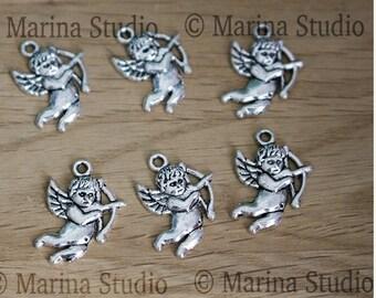 5 charms 22X16MM Tibetan silver Cupid Angels