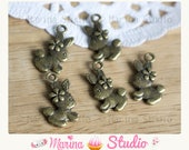 5 pretty bunny charms with very detailed bronze knot 18x11mm- kawaii type, bunny, cute, cute