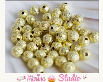 20 stardust 6mm gold or Gold 4mm or 8mm stardust beads