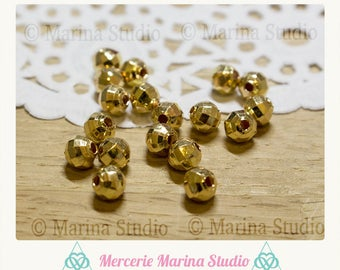 10 beads plated 6mm faceted 22 k gold