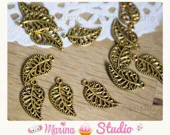 20 charms gold gold leaf antique 18.0mm x 10.0mm