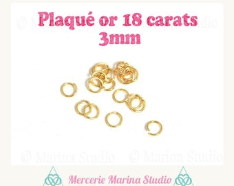 Gold plated rings 18 k 3mm * jump rings *.